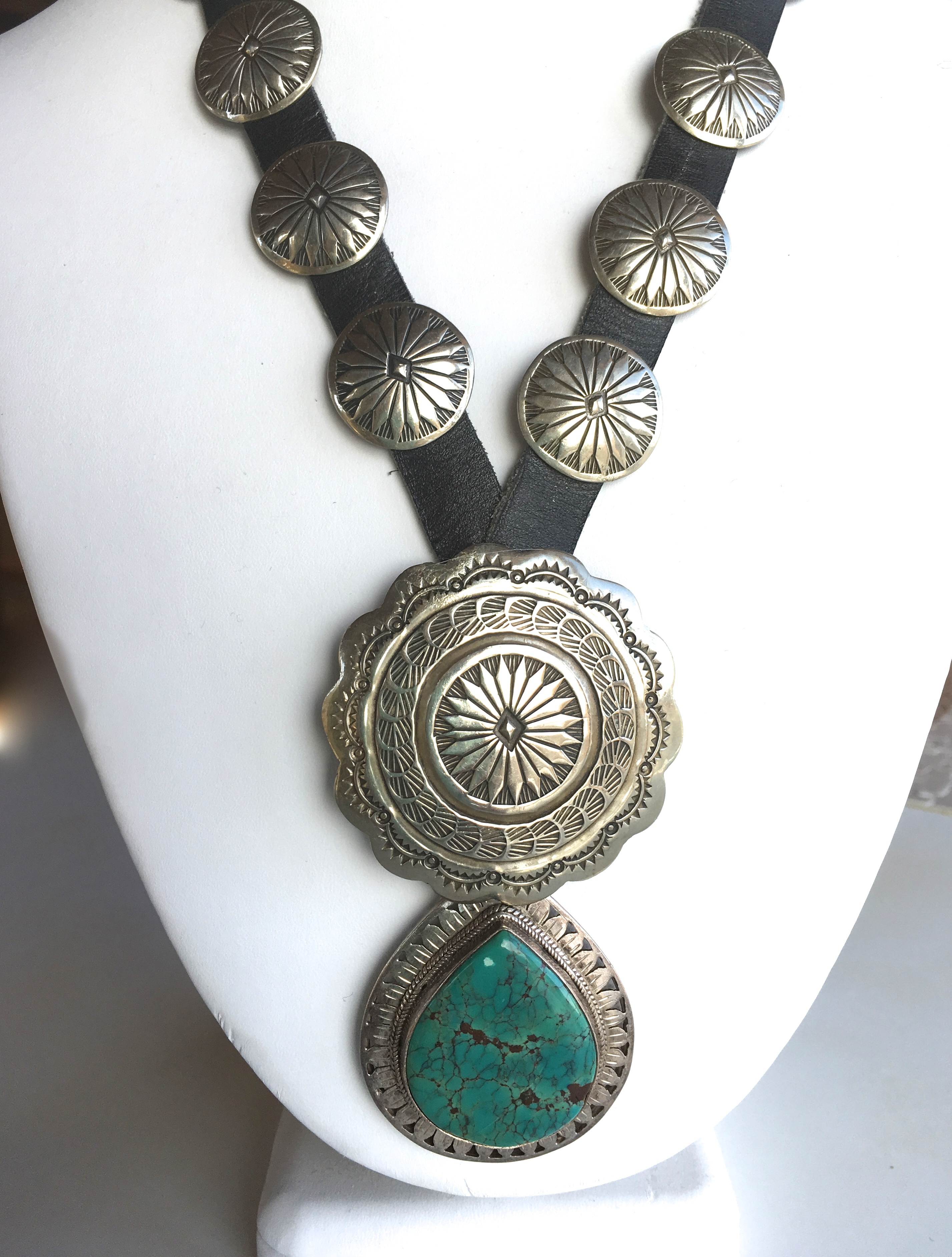 Turquoise Concho Necklace