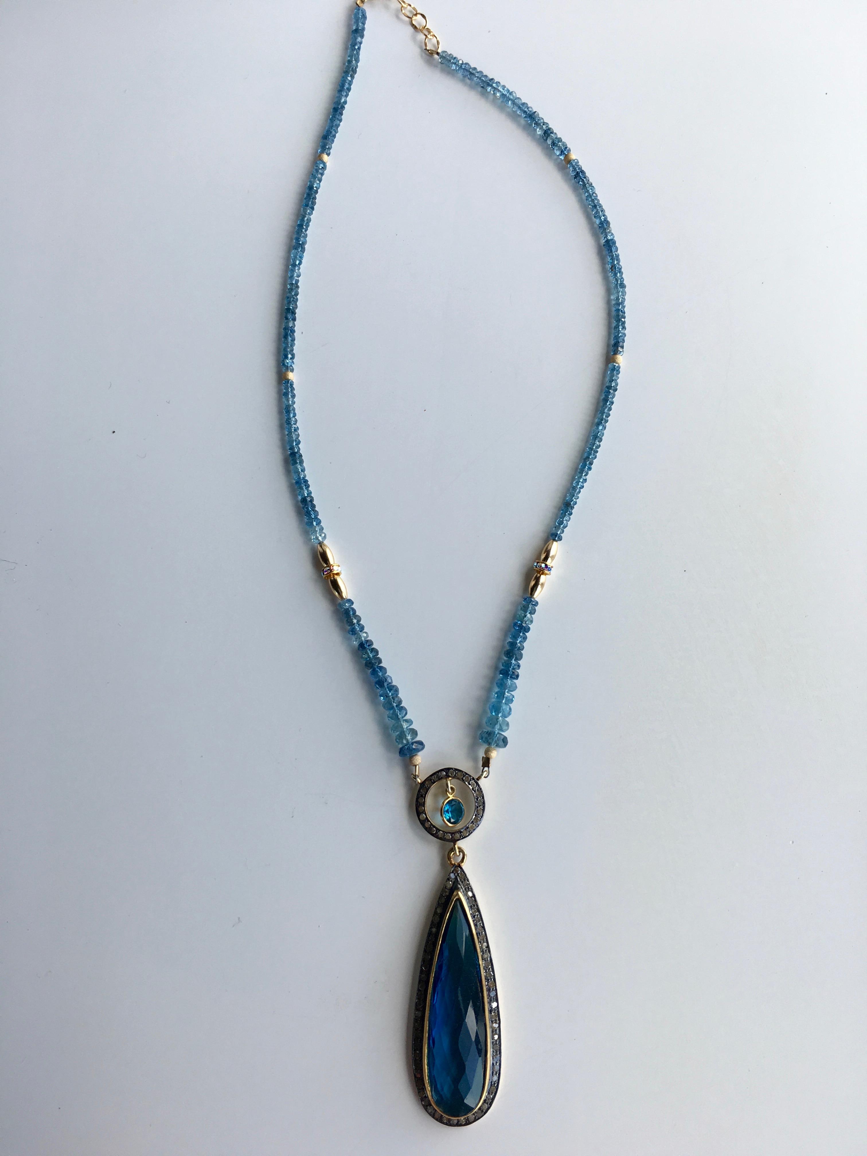 Blue quartz teardrop pendant and aquamarine necklace jewel tones blue quartz teardrop pendant and aquamarine necklace img4800 img4801 img4804 aloadofball Gallery